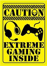 "Funny Tin Sign ""Extreme Gaming Inside"" Metal Sign PlayStaion For game room TEEN"