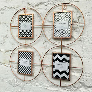 Copper Wire Metal 4 Photos Round Collage Multi Wall Mounted Display Photo Frame