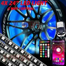 "4pcs 24"" RGB Car Truck Wheel Well LED Light Kit Custom Accent Neon Rim Tire Lamp"