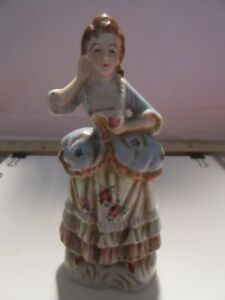 """VTG~Porcelain """"VICTORIAN LADY""""-Blue/Flowery Dress-Red Shoes-Made Occupied Japan"""