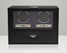 WOLF Blake 2.7 Double Watch Winder Battery Operated Black Leather Dual Motor 2