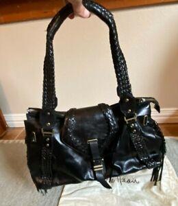 """Cole Haan Shoulder Bag Purse Black Leather Fringe Boho  18""""x12"""" 9"""" Drop"""