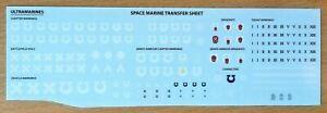 Ultramarines Transfer Sheet Space Marine decals Warhammer 40k