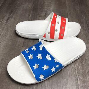 Crocs Classic American Flag Slide Red White Blue Patriotic 4th July M 7 / W 9