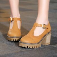 Womens Retro Round Toe Ankle T-strap Mid Block Heels Oxfords Wing Tip Shoes