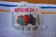 Nos Vtg White 100% Cotton Fruit Loom Briefs Bg Band sz 34-36 M Us 80s As Is 2prs
