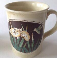 Otagiri Japan Hummingbird Coffee Mug Yellow Iris Flower Stoneware Vintage