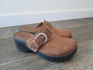 Women's Crocs Cobbler Buckle Clog brown leather Sz. 7