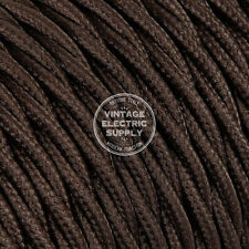 25ft Brown Twisted Cloth Covered Electrical Wire - Braided Rayon Fabric Wire