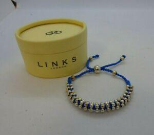 Sterling Silver 925 Links London Bead & Blue Cord Bracelet  In Gift Box VGC #122