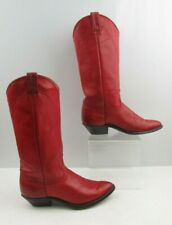Ladies Red Leather Western Boots Size : 6.5M