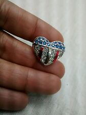 Signed swan swarovski blue red clear crystal heart flag patriotic lapel pin