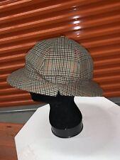 Vintage BARBOUR Tweed Trapper Hunting Cap Hat Plaid Checks Size 7 5/8