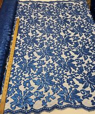 """Royal Blue Floral Embroidery Nylon Crochet Mesh Sequin Fabric """"The Beyonce Lace"""""""