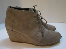 Toms Beige Tan Suede Leather DESERT WEDGE Lace Up Ankle Boots Womens Size US 7.5
