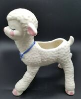 "Vintage Cleveland Ohio  Pottery Baby White  Lamb Planter w/ Blue Bow 7 1/2"" T"