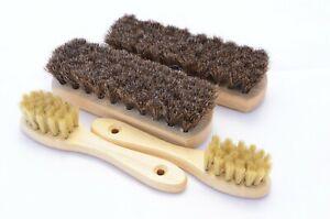 Luxury. Soft Shoe Care Set of 4 Natural Bristle Brushes. Polishing and Buffing.