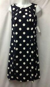 NWT Dressbarn Classic  Navy Blue & White Polka Dot Sheath Career Dress Size 6