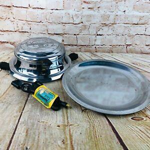 Vtg Heatmaster Chrome Waffle Maker Iron Art Deco Model 230 bakelite handles