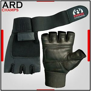 Leather Weight Lifting Gloves Long Wrist Wrap Gloves Power Lifting Lifter PADDED