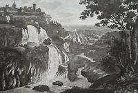 1830s VIEW TIVOLI Grand Cascade Waterfall Italy - Antique Print Copperplate