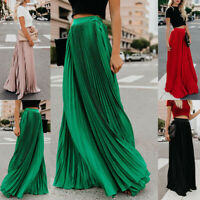 Womens Casual Maxi Pleated High Waist Stretch Swing Cocktail Party Skirts Summer