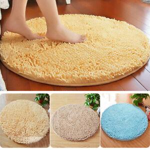 Round Non-slip Chenille Absorbent Carpet Bath Mat Living Room Bedroom Area Rug
