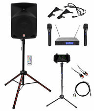 """Rockville 10"""" Karaoke Machine System w/LED Stand+Tablet Stand+Dual Wireless Mics"""
