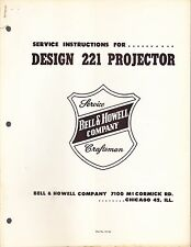 BELL & HOWELL SERVICE MANUAL: 221 PROJECTOR
