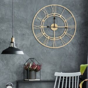 EXTRA LARGE ROMAN WALL CLOCK 60CM NUMERALS OPEN FACE HOME GARDEN ROUND(Gold) UK