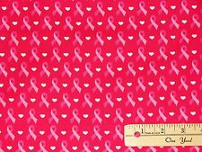 Pink Ribbon Breast Cancer Survivor Cure on Pink Fabric  by the 1/2 Yard #2188-2C