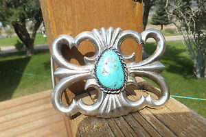 Silver & Turquoise Belt Buckle, 70.30 grams