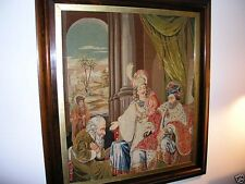 Victorian Hand Embroidered Needlepoint Tapestry 19th Century King Solomon Framed