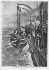 FRANK BRANGWYN Man Overboard Lowering the Lifeboat - Antique Print 1893