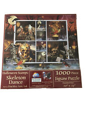 SunsOut Halloween Stamps Puzzle Skeleton Dance 1000 Piece Skulls Occult New
