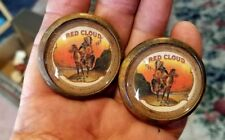 54-20 pair vintage glass domed rosettes Indiaan Red Cloud on horse in full dress