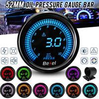 2'' 52mm 0-10Bar Oil Pressure Gauge Kit Meter + Sensor Meter Digital LED