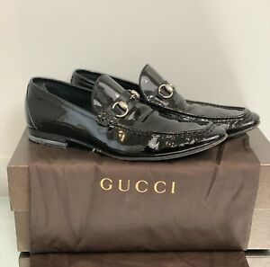 Gucci Black Patent Leather Horsebit Loafers Mens size 8 1/2