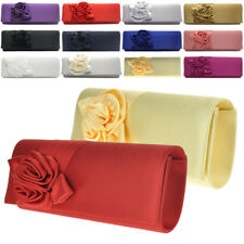 Womens Satin Floral Evening Clutch Purse Party Bridal Prom Shoulder Handbag New