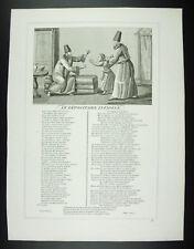 Le dépositaire infidèle  Fables Jean de La Fontaine 1834 gravure print XIXth