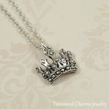 Silver Princess Tiara Charm Necklace - Royal Crown Pendant Jewelry NEW