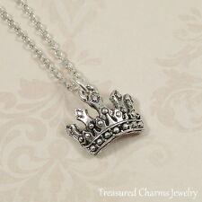 Silver Princess Tiara Charm Necklace - Royal Crown Pendant Jewelry NEW