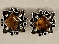 Amber Modernist Earrings Clip-On Square Vintage Taxco Sterling Silver 925