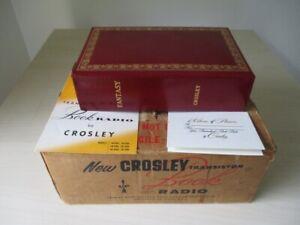 "Crosley 1955 USA miniature portable ""Fantasy"" book valve radio with box"