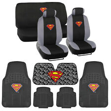 Superman Low Back Seat Covers Rubber Floor Mats Auto Shade - 14 Piece Set
