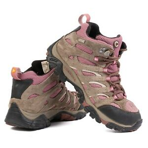 Merrell Women 7.5 Moab Mid Waterproof Hiking Boots Boulder/Blush Missing Insoles