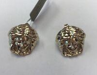 """Medium 10K Real Yellow Gold Medusa Earrings Studs 2.5gr & 5/8"""" Long"""