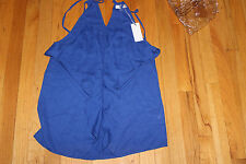 OVI  SLEEVELESS TOP  BLUE SIZE M  100% POLYESTER  DRAPED FRONT   NWT