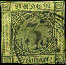 German States, Baden Scott #2 Used   5-Ring Numerical Postmark