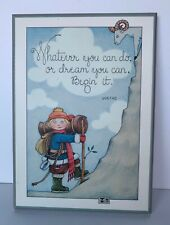 Vintage Mary Engelbreit Colorplak Wooden Plaque - Mountain Goat, Climbing